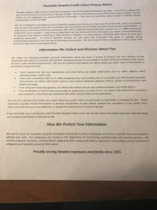Photo of the Pocatello Simplot credit Union Privacy Notice