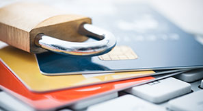 Photo of credit cards with a padlock on top representing credit card security