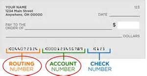 sample check with routing, account and check number location identified